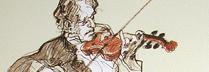 ワイズバッシュ 「バイオリンの音色 」 リトグラフ30.5x23