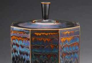 [Octagon jar with Blue waves glaze」H35×W24cm
