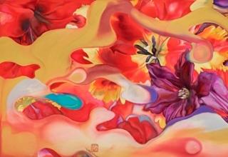 岩田壮平「flower undulation」紙本彩色 60×160cm