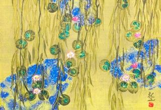 平松礼二「モネの池・夢花」日本画 6号
