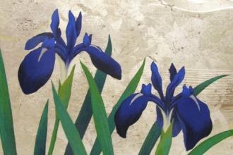 佐々木理恵子「初夏の涼」箔、岩絵の具、アクリル絵の具/板(屋久杉) 25×33.3cm