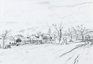 ベルナール・ガントナー「田園」デッサン  28×38.6cm