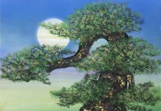 「 月光寿韻」日本画10号