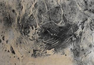 「雲水峡」墨、岩絵具/雲肌麻紙 40×110㎝