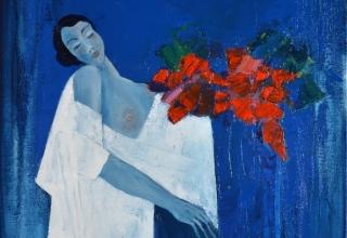 J.M.ZACCHI 「赤いブーケ」 油彩10号