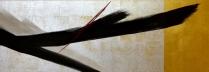篠田桃紅 「無題」 40×150cm 墨・朱・銀泥・金箔・プラチナ箔