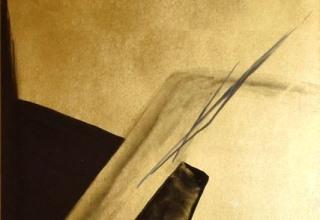 篠田桃紅「Eager 熱望」墨・金箔 60×40cm