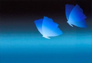 「papillon bleu Ⅱ(青い蝶)」シルクスクリーン 44×64cm
