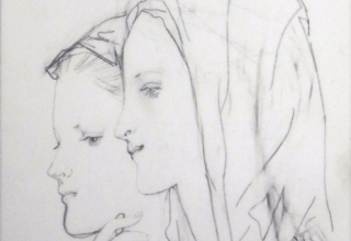 藤田嗣治 「二人の少女」 鉛筆 22.8×16.1