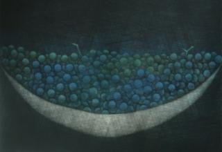 浜口陽三 「青いぶどう」 17.3x21.9cm
