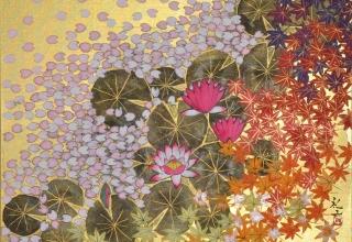 平松礼二 「モネの庭 春秋図」 日本画6号