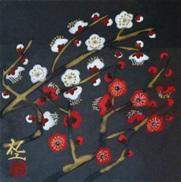 平松礼二「白紅」 日本画 13.5×13.5 額寸31.5×31.5