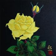 平松礼二「聖ばら図」 日本画 17.5×17.5 只今額装中です