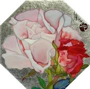 岩田壮平「roses」 岩絵具、プラチナ箔 11.2×11.2(八角形)  売約済