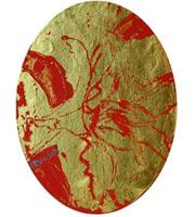 水野竜生「ユリ」 アクリル、金箔12×9(楕円形) 額寸27×22  売約済