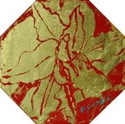 水野竜生「ユリ」 アクリル、金箔11×11(八角形) 額寸27×24  売約済
