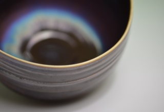 宮村秀明「Tea bowl with blue hares fur glaze 」
