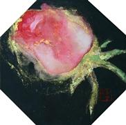 菅原さちよ「花紅」 岩絵具、墨、金箔/絹本 11×11(八角形) 額装なし                *こちらのお作品は実費にて額装を承ります