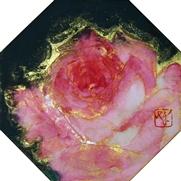 菅原さちよ「花時」 岩絵具、墨、金箔/絹本 11×11(八角形)額装なし  売約済          *こちらのお作品は実費にて額装を承ります