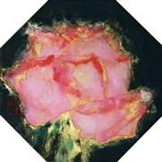 菅原さちよ「花朝」 岩絵具、墨、金箔/絹本 11×11(八角形)額装なし               *こちらのお作品は実費にて額装を承ります