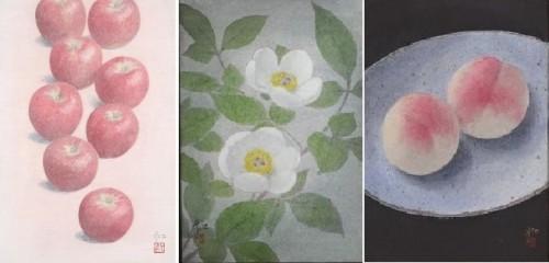 中西和「秋映え」41×27 「山芍薬」22.3×15.8  「桃碗図」22.7×15.8