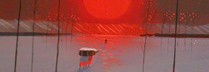 斉藤真一 「紅い陽の雪原」 油彩4号