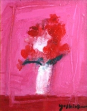 吉岡耕二「Flowers (P)」 油彩0号 額寸31.5×27.5  売約済